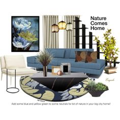 Nature Comes Home by emjule on Polyvore featuring interior, interiors, interior design, home, home decor, interior decorating, TrueModern, Pier 1 Imports, Brown Jordan and Ginger Brown
