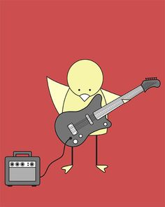 Nursery Art Bird on Electric Guitar Art Print by barkingbirdart