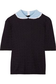 Miu Miu - Broderie Anglaise-trimmed Cashmere And Silk-blend Sweater - Navy - IT40