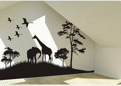 Safari Animals Wall Decal Africa giraffe and elephant Vinyl Wall Art Decal African Savanna Wall Decal birds wall decal on Etsy, $48.99