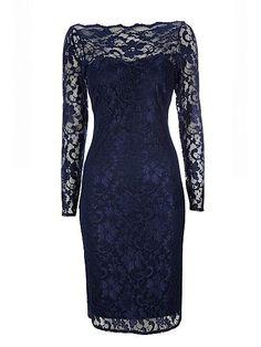 Navy v-back scallop lace dress - Erdem navy lace dress replikate