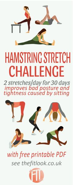 30 day challenge featuring the best hamstring stretches to ease tightness while avoiding strain on the low back. Do a different combination of 2 stretches each day to gradually improve your flexibility. With free printable exercise chart.