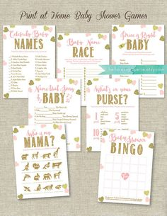 Pink and Gold Baby Shower Games Printable Bundle  This bundle of seven popular baby shower games will give you an assortment of chic and modern