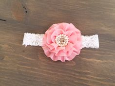 Pink Large Flower Headband - Lace headband - baby girl headband - vintage