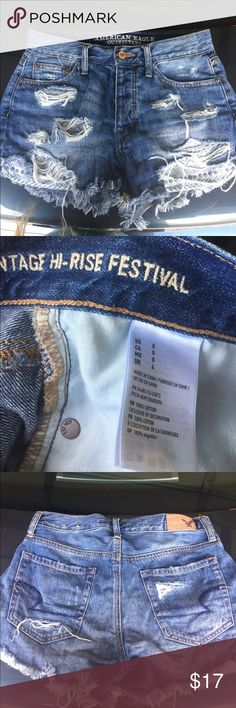 American Eagle Jean shorts Vintage High-rise American Eagle Jean shorts Vintage High-rise , Aztec pockets, ripped jeans , size 0, faded blue, used American Eagle Outfitters Shorts Jean Shorts