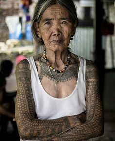 WEBSTA @ melasmells - Whang-od, b. Feb. 17, 1917, is the last mambabatok (traditional Kalinga tattooist) and the oldest tattoo artist in the Philippines..Her ink is composed of a water charcoal mixture that is tapped into the skin through a thorn end of a calamansi or pomelo tree. This ancient technique called batik dates back thousands of years and is relatively painful compared to modern techniques. According to tradition, her skills can only be passed down through lineage..Whang-od spent…
