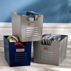 "For cube shelf Overall: 9"" wide x 13"" deep x 10"" high set of two $59 Locker Bins | PBteen"