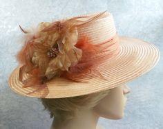Kentucky Derby Hats for Women | Womens Peach Hat Kentucky Derby Hat Garden Party by GlitzOfFlorida