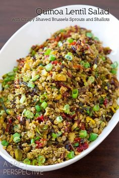 Quinoa Lentil Salad ~ Made with crispy roasted brussels sprouts, shallots, sweet red peppers and scallions, this healthy side dish is both filling and fragrant. Cook lentils and quinoa separately. Lentil Salad Recipes, Veggie Recipes, Whole Food Recipes, Vegetarian Recipes, Cooking Recipes, Healthy Recipes, Vegan Meals, Red Quinoa Recipes, Lentil Meals