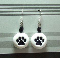 Paw Print Bead Earrings Handmade Polymer Clay Beads by MyStudio91, $8.00: