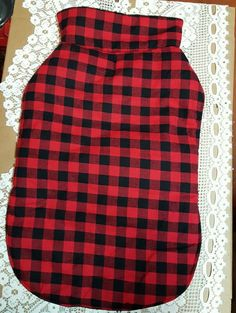 Dog jacket size 2XL red and black plaid print thick wool like collar #wagatude