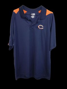 NFL Team Chicago Bears Mens Navy Blue Short Sleeve Polyester Polo Shirt XL #NFL #PoloRugby