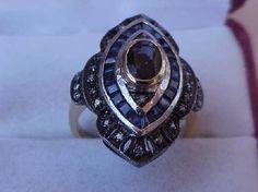 Antique Art Deco  18K 2-Tone Gold  Ring:Diamonds & Sapphires,1930s