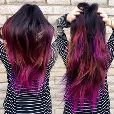 Beautiful rainbow hair color with pink for black hair,nice color idea~