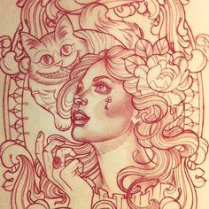 Tattoo Artwork by Kat Abdy - Alice in wonderland cheshire cat