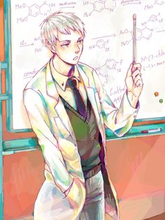 "That would be so cool if he was a teacher! I'd just walk into the classroom like, ""Sup, Proffessor Beilschmidt?"" He kind of looks like Stein from Soul Eater. Just imagine Prussia rollin' in on Stein's office chair all like, ""Kesese, I'm awezome!"" With little Gilbird flying along behind him"