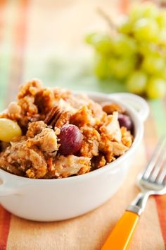 Pecan Chicken - substitute almond flour for all purpose flour.  This has grapes in it and roasted grapes are very good.  Maybe reduce the amount used or eliminated them all together.  Might try fresh cranberries, but could be very tart with no addition of sweetness.