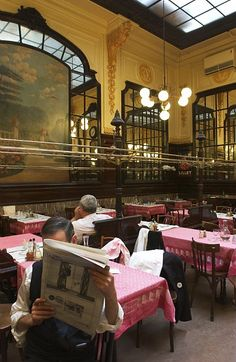 Chartier restaurant, Montmartre, Paris. The restaurant opened in1896 and he is listed historical monument