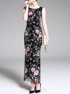 b5900bbfa50 Stylewe Summer Dresses Floral Dresses Party   Evening Sheath Crew Neck  Sleeveless Elegant Floral-Embroidered