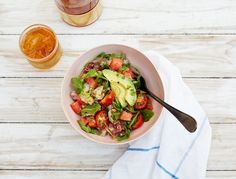 My watermelon ceviche salad is a celebration of summer and homage to my #1 chef rule: Fresh is best. Citrus-marinated fish, coconut, chilled watermelon, and garden herbs fold together to create a healthy, flavor-packed salad …