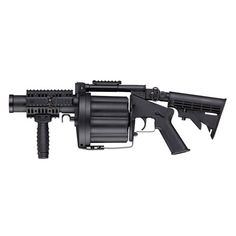 Gear up for the airsoft field with the MGL MK Grenade Gun. This six-shot grenade launcher has revolver construction. Paintball Field, Paintball Gear, Airsoft Gear, Tactical Gear, Airsoft Revolver, Airsoft Grenade, Pistola Nerf, Quad Rail, Air Rifle