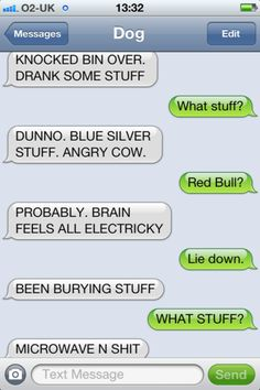 Red Bull+Dog=Funny I love all of the dog texts:) hilarious Funny Dog Texts, Funny Dogs, Funny Animals, Epic Texts, Hilarious Texts, Funny Farm, Einstein, Sneak Attack, Haha Funny