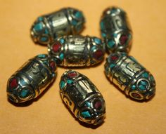 Turquoise beads coral (6 beads) Nepalese Beads Tibetan beads Tibet beads tribal beads bohemian beads country beads Nepal beads BDS915 by goldenlines on Etsy