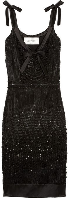 VALENTINO  Beaded Silk-satin Dress  Valentino's intricately embellished silk-satin cocktail dress gives a subtle nod to the all-out glamour of the 1920's. Pair this shimmering LBD with scarlet lips to dance the night away.