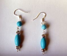 $$Hand made*Blue Turquoise gemstone*Earrings* 925 SILVER*Unique dangle Earrings$