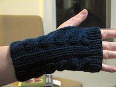 Fingerless gloves/wrist warmers, based on the popular Irish Hiking Scarf by Hello Yarn