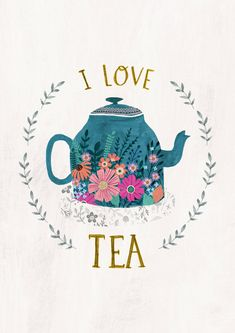 I Love Tea - by Rebecca Jones Giclee print of an original illustration. Printed on high grade, archival paper, with archival quality inks. (French Cold Press Textured fine-art paper, 100% cotton rag, 320 gsm) A4 SIZE - This print measures approx. 210 x 300 mm. With 5mm space