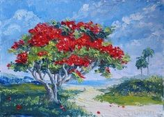 watercolor paintings of royal poinciana trees | daily_painting__164_a_daughter_s_unconditional_lov ...