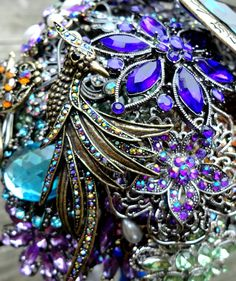 ***Please note that our Peacock Bouquet is Made to Order    A Peacock Theme brooch bouquet handmade by Silver Stems. This bouquet comes in (2) sizes: