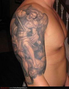 Guardian Angel Tattoos for Men On Arms | Tatto design of Angel Tattoos guardian angel - TattooDesignsIdeas.in