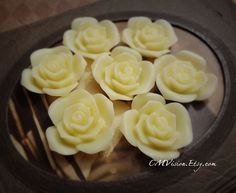 4pcs Matte Light Yellow Cream  27mm Quality Resin Rose by CMVision