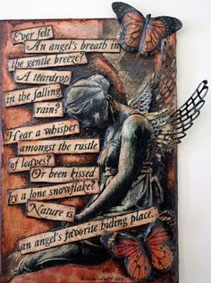 """Nature is an angels favorite hiding place ~ Victorias Art Visions quote by """"Carrie Latet"""" Mixed Media Collage, Mixed Media Canvas, Collage Art, Mix Media, Art Journal Pages, Art Journals, Victoria Art, Bullet Journal, Junk Journal"""