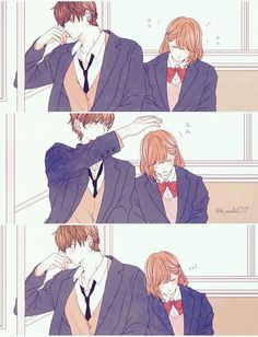 Who are these couple and from what anime/manga? Cute Couple Comics, Couples Comics, Cute Couple Art, Cute Comics, Anime Cupples, Anime Kiss, Kawaii Anime, Anime Art, Manga Couple