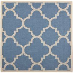 Safavieh Indoor/ Outdoor Courtyard Blue/ Beige Rug (4' Square)