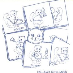 Aunt Martha 129 - Eight Kitten Motifs