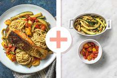 Deel me op Pinterest Veggie Pasta, Pesto Pasta, Spaghetti, Veggies, Fresh, Ethnic Recipes, Food, Zucchini, Tomatoes