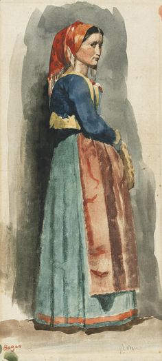 Edgar Degas (1834-1917) Italienne 1856 (39 by 17 cm)