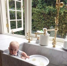 Baby in the sink hanging out with our Gantry Pull Down Faucet