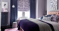 Charlotte-Beevor-Indigo-Garden-Iris-Shadow-curtains-with-Grapeflower-Blush-Roman-blind-bedroom - Browse the fabrics in the Indigo Garden Collection. Find out more about the designs within this contemporary collection of Roman blinds