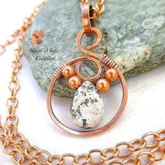 Ocean Jasper Pendant Copper Jewelry Wire Wrapped Stone Green Gemstone Pendant Boho Rustic Open Circle Pendant Copper Chain Necklace Optional by RoughMagicCreations on Etsy https://www.etsy.com/listing/228649370/ocean-jasper-pendant-copper-jewelry-wire