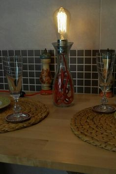 Wine Lamp, con lampadina Edison