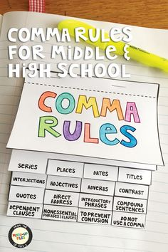Do your students know when and when NOT to use commas in a sentence? Use this quick reference guide with engaging sports-themed mentor sentences for a review lesson on correct comma usage with middle and high school ELA classes. It's thorough, with 16 different guidelines for using commas, and detailed enough to serve as a style guide from now until graduation! Students can store the comma rules flip book in their binders or glue it directly into a grammar and punctuation interactive…