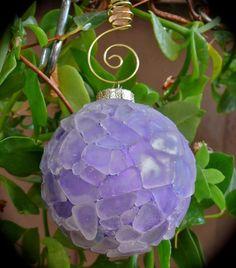 """Beautiful Sea-Glass Christmas Ornament ("""",) Sea Glass Crafts, Sea Glass Art, Sea Glass Jewelry, Shell Crafts, Coastal Christmas, Purple Christmas, Beach Christmas, Christmas Baubles, Christmas Arts And Crafts"""