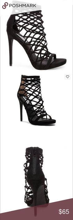 """• Steve Madden Caged Heel • Featuring a knotted-together, web-like upper and tall stiletto heel, URSULA by Steve Madden gives new meaning to the term """"strappy"""" sandal. Slip into this seductive style to have all eyes on you!  • Microsuede upper material • Leather lining • Man-made sole • 4.5 inch heel height • Brand new, no box. Steve Madden Shoes Heels"""