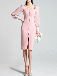 Buy Casual Dresses Midi Dresses For Women from YZL Studio at Stylewe. Online Shopping Stylewe Cocktail Dresses Long Sleeve Casual Dresses Cocktail Bodycon Square Neck Elegant Balloon Sleeve See-Through Look Dresses, The Best Cocktail Midi Dresses. Elegant Dresses, Sexy Dresses, Evening Dresses, Casual Dresses, Fashion Dresses, Dresses For Work, Formal Dresses, Pretty Dresses, Summer Dresses