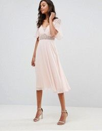 ASOS | ASOS Lace Tulle Cap Sleeve Midi Dress